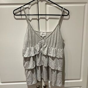 Seed Heritage Gray Tiered Ruffle Ribbed Tank Top